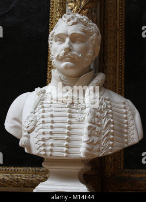 Marble bust of General Antoine Charles Louis de Lasalle by Auguste Marie Taunay in the Gallery of battles, Versailles - Stock Photo