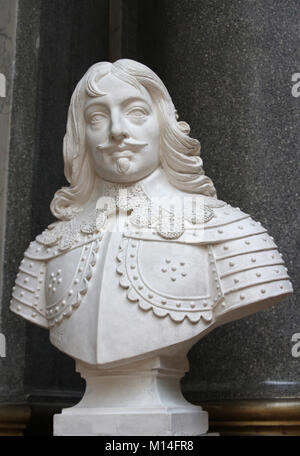 Marble bust of Manasses de Pas, Marquis of Feuqueires, Lieutenant of the Armies of the King by Philippe Joseph Henri - Stock Photo