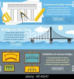 Bridge design banner horizontal set, flat style - Stock Photo