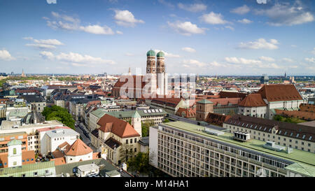 Munich aerial panorma with the most prominent landmark Frauenkirche, Bavaria, Germany - Stock Photo