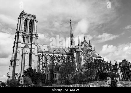 Paris, France: Black and white view of the Cathedral of Notre Dame de Paris. - Stock Photo