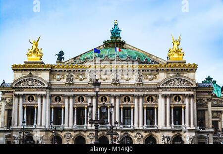 Paris, France - December 10, 2017: Facade of the Paris Opera house (Garnier Palace), the primary opera company of - Stock Photo