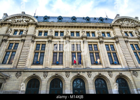 Paris, France - December 9, 2017: Sorbonne University building in the Latin Quarter, the historical house of the - Stock Photo