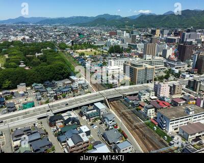 Yamagata, Japan - May 19, 2017. Aerial view of Yamagata, Japan. Yamagata is a large prefecture along the Sea of - Stock Photo