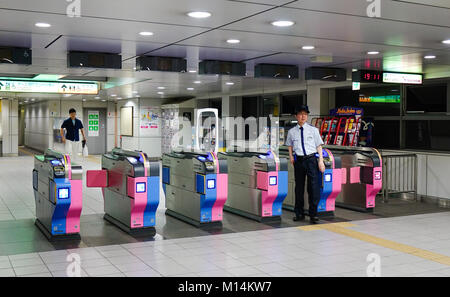 Tokyo, Japan - May 20, 2017. Entrance gates of subway station in Tokyo, Japan. With more than 3.1 billion annual - Stock Photo