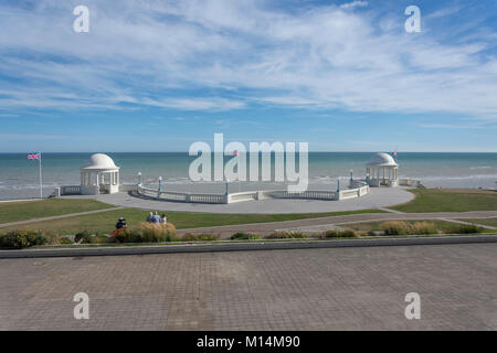 Beach and promenade view from Art Deco De La Warr Pavilion terrace, Bexhill-on-Sea, East Sussex, England, United - Stock Photo