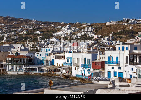 Panoramic view to main town of island of Mykonos, Cyclades, Greece - Stock Photo