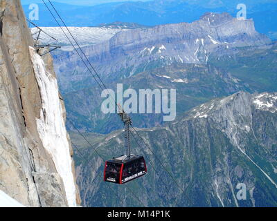 CHAMONIX MONT BLANC, FRANCE on JULY 2016: Cable car cabin on AIGUILLE DU MIDI in highest french alpine mountains - Stock Photo
