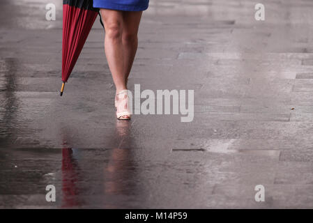 Business woman with bare legs and umbrella on the streets - Stock Photo