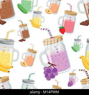 Seamless pattern of take away smoothie with ingredients banana cucumber chocolate peach grape vector illustration - Stock Photo
