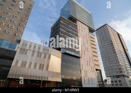Modern buildings in Diagonal Mar area, Barcelona. - Stock Photo