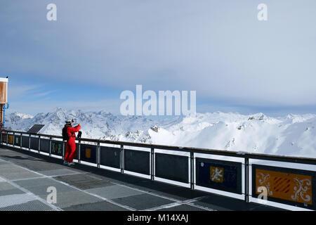 The La Grande Motte glacier in Tignes, a winter sports resort in France - Stock Photo