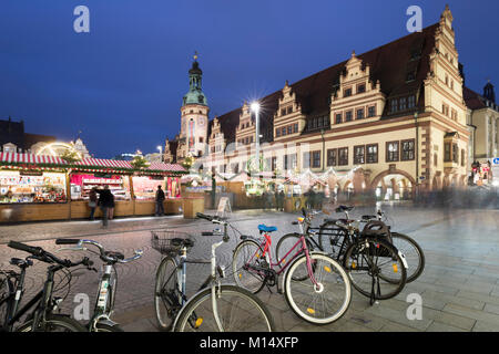 Christmas market in the Leipzig Market Place and the Old Town Hall Museum of City History, Marktplatz, Leipzig, - Stock Photo