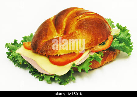 croissant ham and cheese - Stock Photo