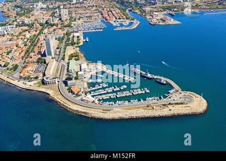 France, Bouches du Rhone, Gulf of Fos sur Mer, Port de Bouc, Port entrance (aerial view)