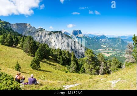 France, Isere, Vercors Regional Natural Park, hiking in the National Nature Reserve of the Vercors Highlands, view - Stock Photo