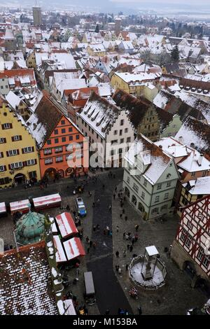 Germany, Bavaria, Rothenburg ob der Tauber, Market Square, City Hall, from the top of the belfry, view of the old - Stock Photo