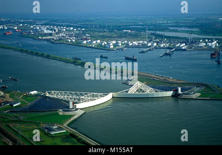 The Netherlands. Rotterdam. Port. Harbour. Maeslant barrier, Maeslantkering. Storm surge barrier. Part of Delta - Stock Photo