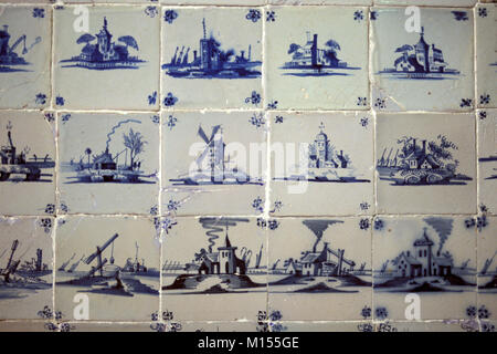 The Netherlands. Delft. Museum Lambert van Meerten. Has a fine collection of porcelain tiles and delftware dating - Stock Photo