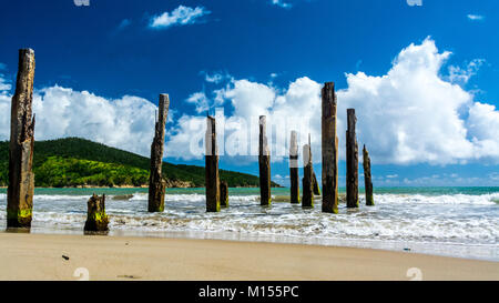 Ruins of what used to be an old pier at Guayanes beach in Yabucoa. - Stock Photo