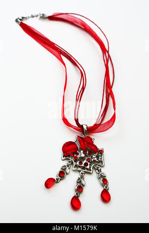 Red gems necklace - Stock Photo