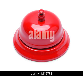 Red Metal Service Bell Isolated on White Background. - Stock Photo
