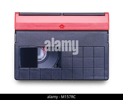 Video Cassette Tape for Home Movie Camera Isolated on a White Background. - Stock Photo