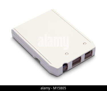 White Eight Track Cassette Tape Isolated on a White Background. - Stock Photo