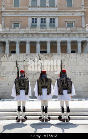 Changing of the guard at the Tomb of the Unknown Soldier in Syntagma Square, Athens, Greece, Europe - Stock Photo