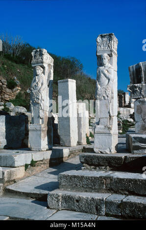 Arch remains of the Gate of Hercules, Curetes Street, Ephesus, Turkey - Stock Photo