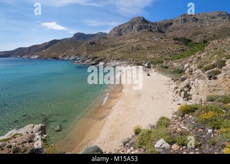 View over Kalo Ampeli beach near Livadi on island's south coast, Serifos, Cyclades, Aegean Sea, Greek Islands, Greece, - Stock Photo