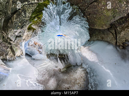 Panorama dawn in an ice cave with icicles on Baikal, Olkhon. - Stock Photo