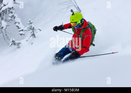 Skier freerider rides from powder snow on background of forest and mountains. - Stock Photo