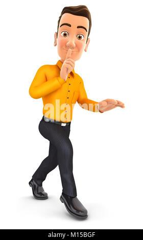 3d man walking on tiptoe, illustration with isolated white background - Stock Photo