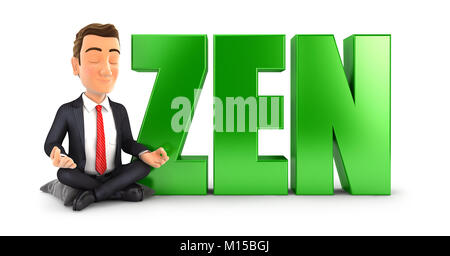3d businessman doing meditation next to the word zen, illustration with isolated white background - Stock Photo