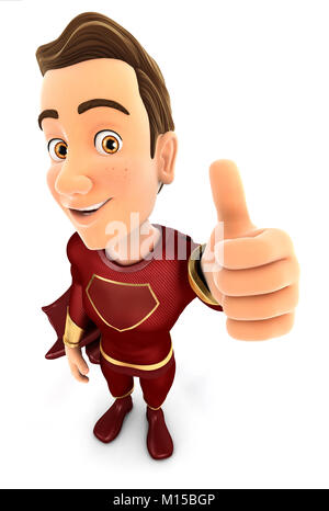 3d red hero positive pose with thumb up, illustration with isolated white background - Stock Photo
