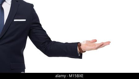 Stylish businessman hand holding empty space, isolated on white background - Stock Photo