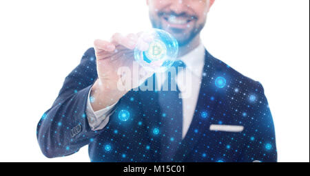 Happy businessman holding bitcoin coin in bubble grid on white - Stock Photo