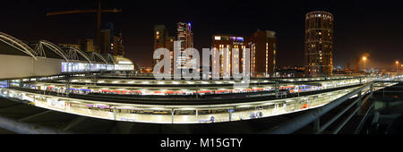 Leeds City Skyline Panorama At Night - Stock Photo