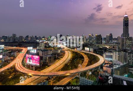 BANGKOK, THAILAND - JANUARY 26, 2018:  Traffic backed up in Bangkok's Ratchathewi district. - Stock Photo