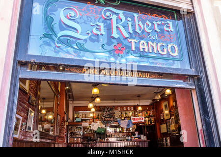 Buenos Aires Argentina Caminito Barrio de la Boca La Ribera Del Tango restaurant bar entrance sign Hispanic Argentinean - Stock Photo