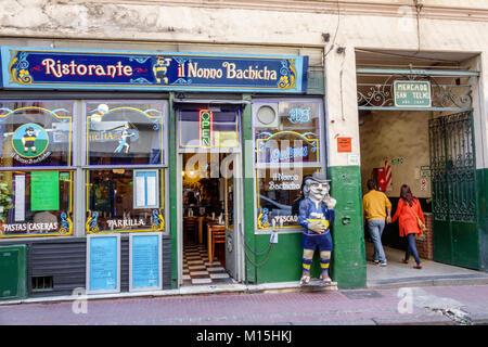Buenos Aires Argentina San Telmo historic center Ristorante Il Nonno Bachicha restaurant grill exterior statue Hispanic - Stock Photo