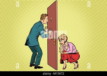 Man and woman spy each other - Stock Photo
