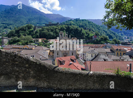 cityscape of Bellinzona,Switzerland, from Castelgrande castle - Stock Photo