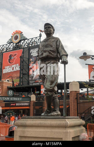 Hall of Famer sculpture of Bath Ruth at Oriole Park at Camden Yards, home to the Baltimore Orioles MLB team, Baltimore, - Stock Photo
