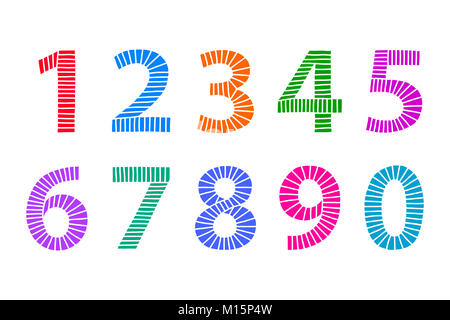 Multi colored hand drawn numbers made of lines in even distances. From one to zero in coordinated bright colors. - Stock Photo