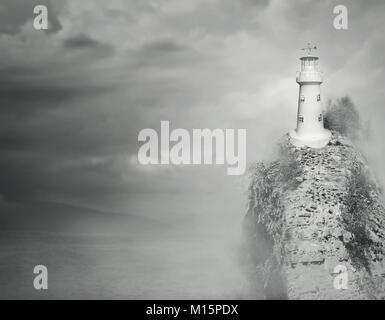 Beautiful fantasy background of a lighthouse on the top of a rocky mountain with sea and cloudy sky in black and - Stock Photo
