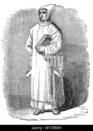 14th Century religious orders in England, a Carthusian Monk. - Stock Photo