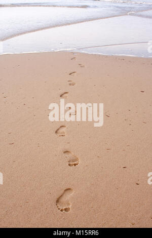 Footprints in the sand coming out of the Atlantic Ocean at Head of the Meadow Beach, Cape Cod - Stock Photo