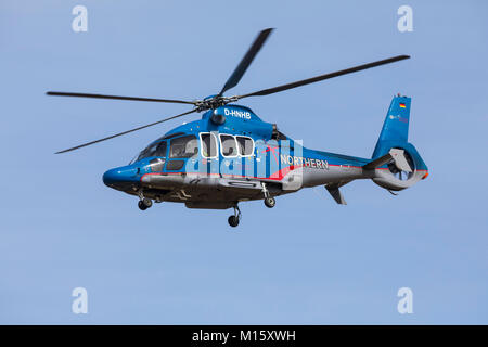 The East Frisian North Sea island Norderney, Germany,  helicopter EC 155, Northern HeliCopter, Emden, transport - Stock Photo